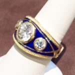 Custom Men's Diamond and Blue Enamel Ring