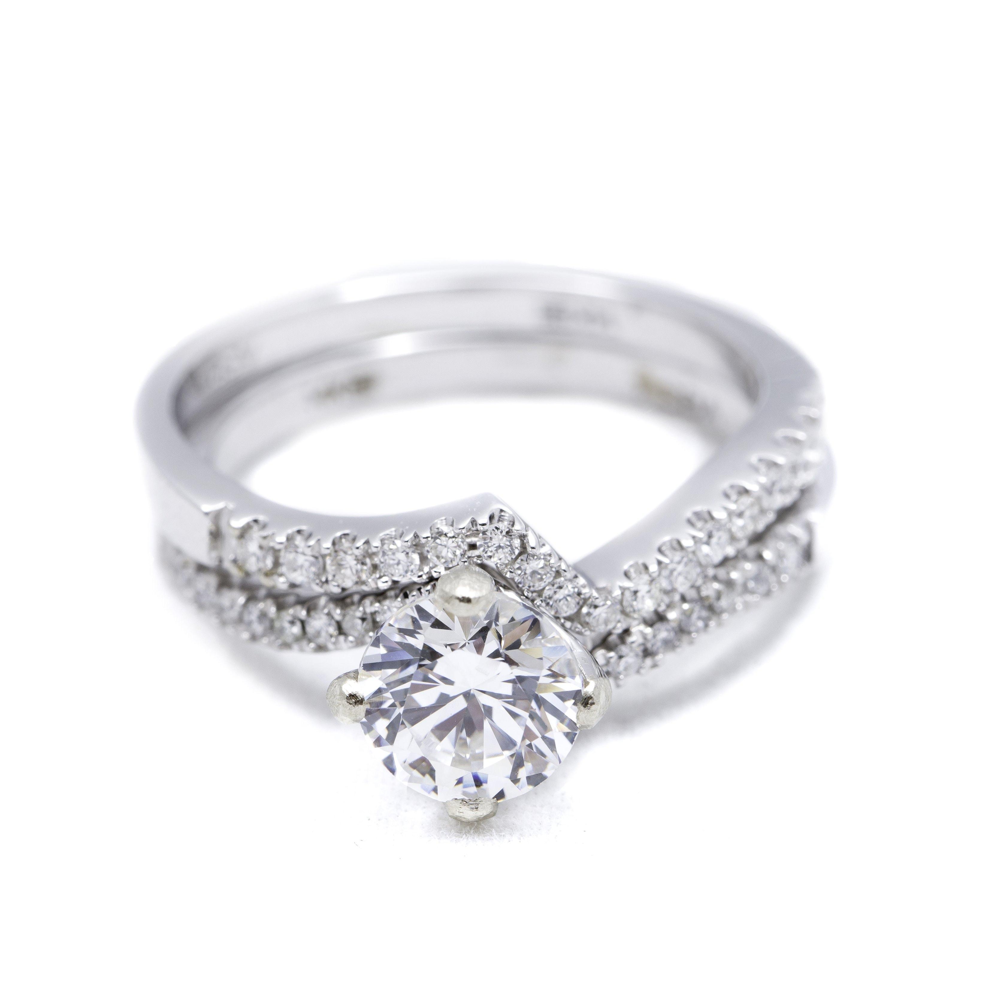 White Gold Diamond Ring Mounting And Wedding Ring Set Argo Lehne Jewelers